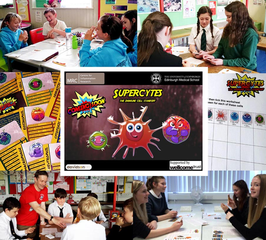Compilation of images of children playing the Supercytes card game