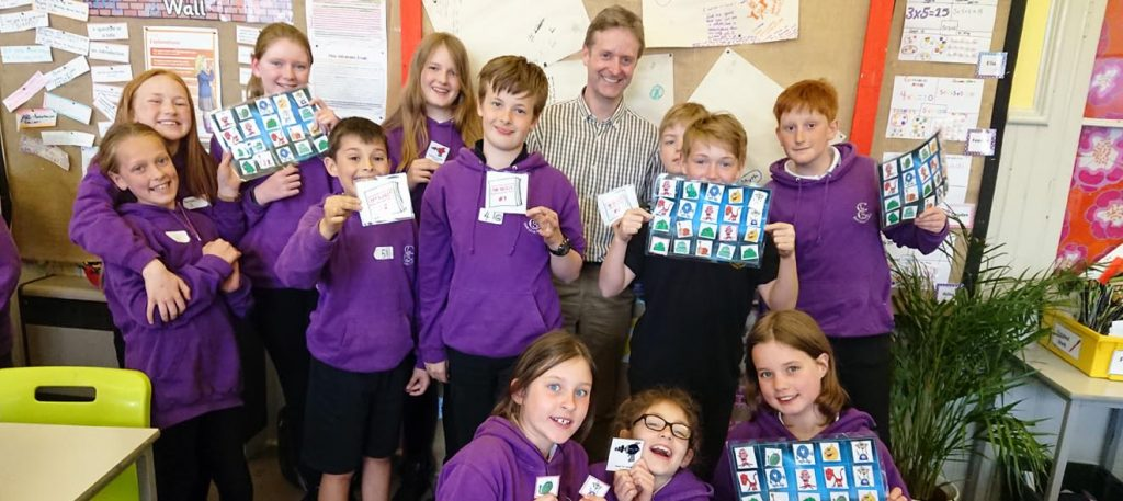 Donald J. Davidson with primary 7 pupils